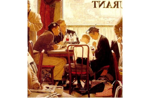 Norman Rockwell 'Bendiciendo la Mesa'.