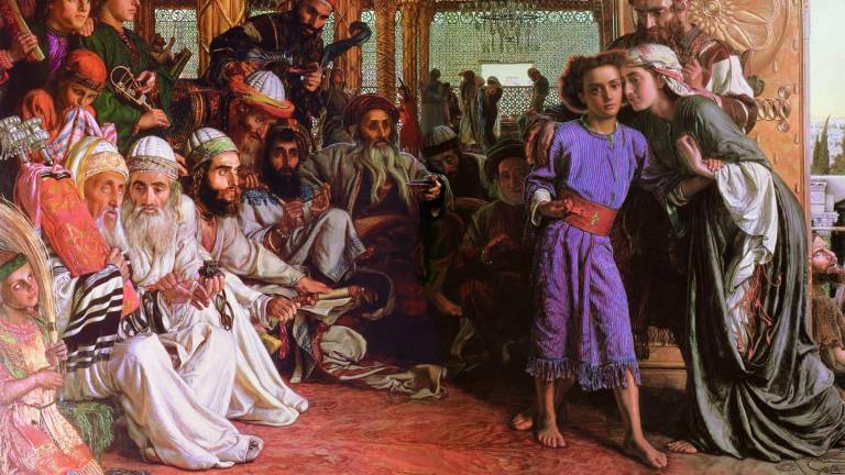 William Holman Hunt Jesús niño con los maestros del templo.